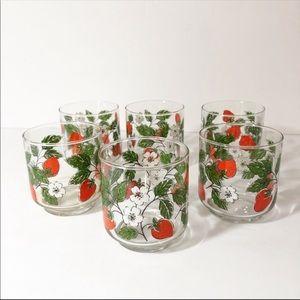 Vintage Strawberry Vine Juice Glass Set of 6